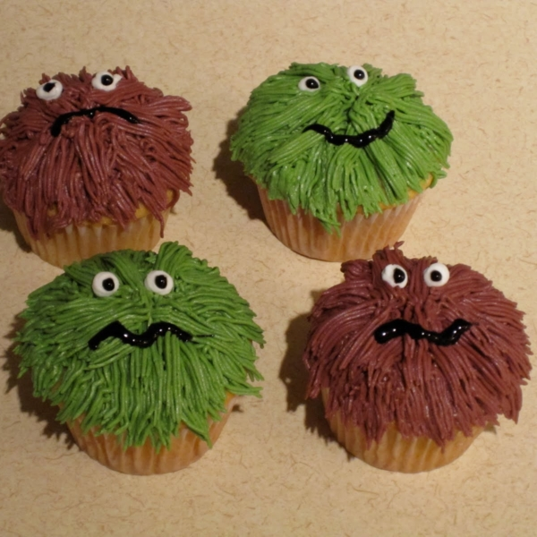 Four Monster cupcakes