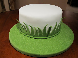 Cake on a green grass fondant covered cake board.