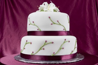 Two tiered cake on a table