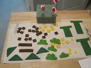Shot of all the components going on the side of the cake.