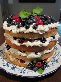 Berry layer cake on a plate.