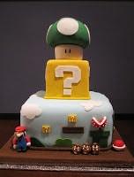 Three tier Super Mario cake front.