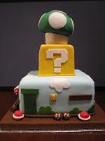 Three tier Super Mario cake side.