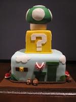 Three tier Super Mario cake back.