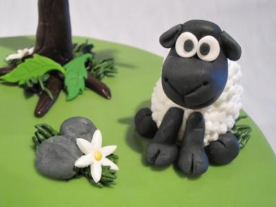 Close up of a fondant sheep on a cake.