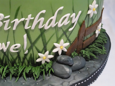 Close up of the rocks on the side of the cake.