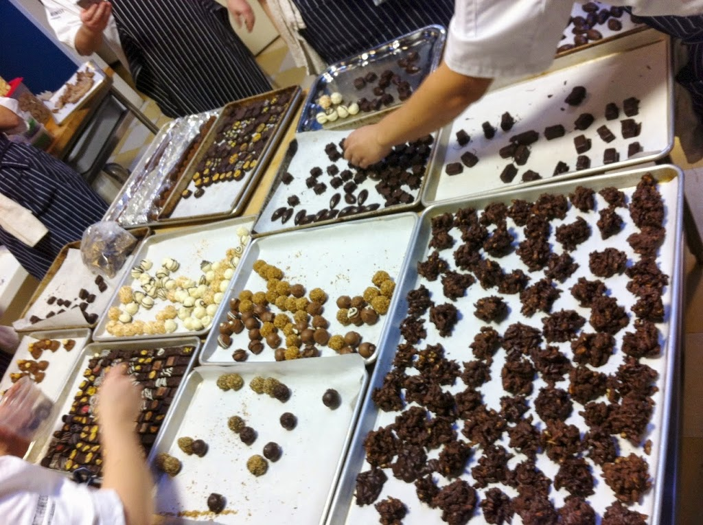 Scenes from a pastry kitchen.