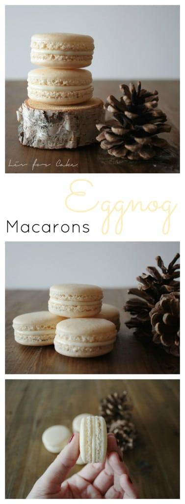 Eggnog Macarons. Perfect for the holiday season. | livforcake.com