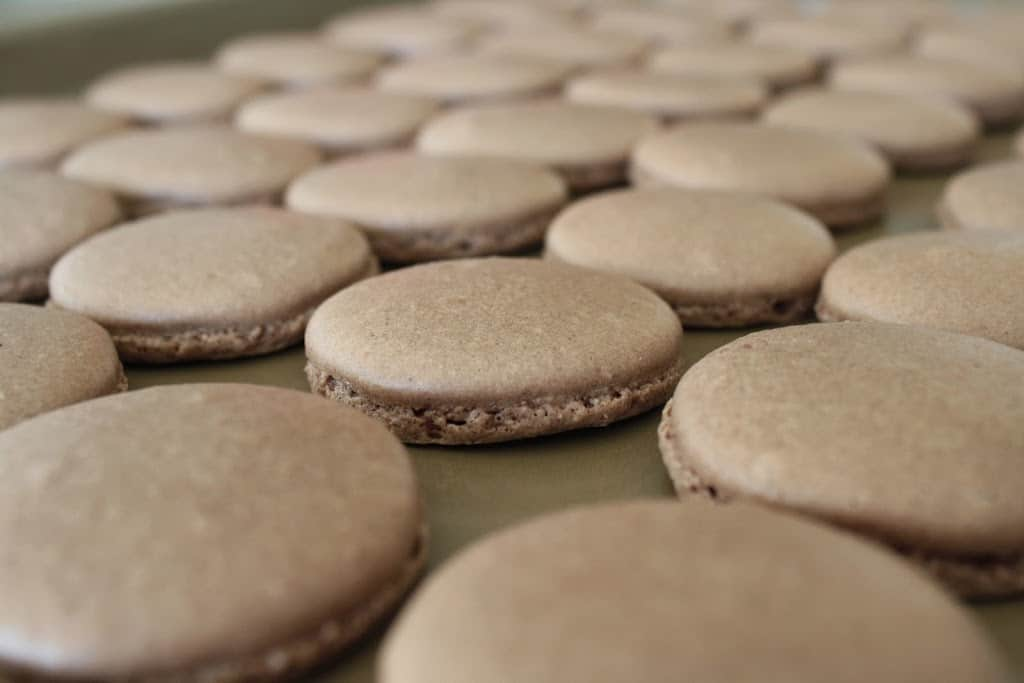 Close up of macarons shells on a baking sheet.