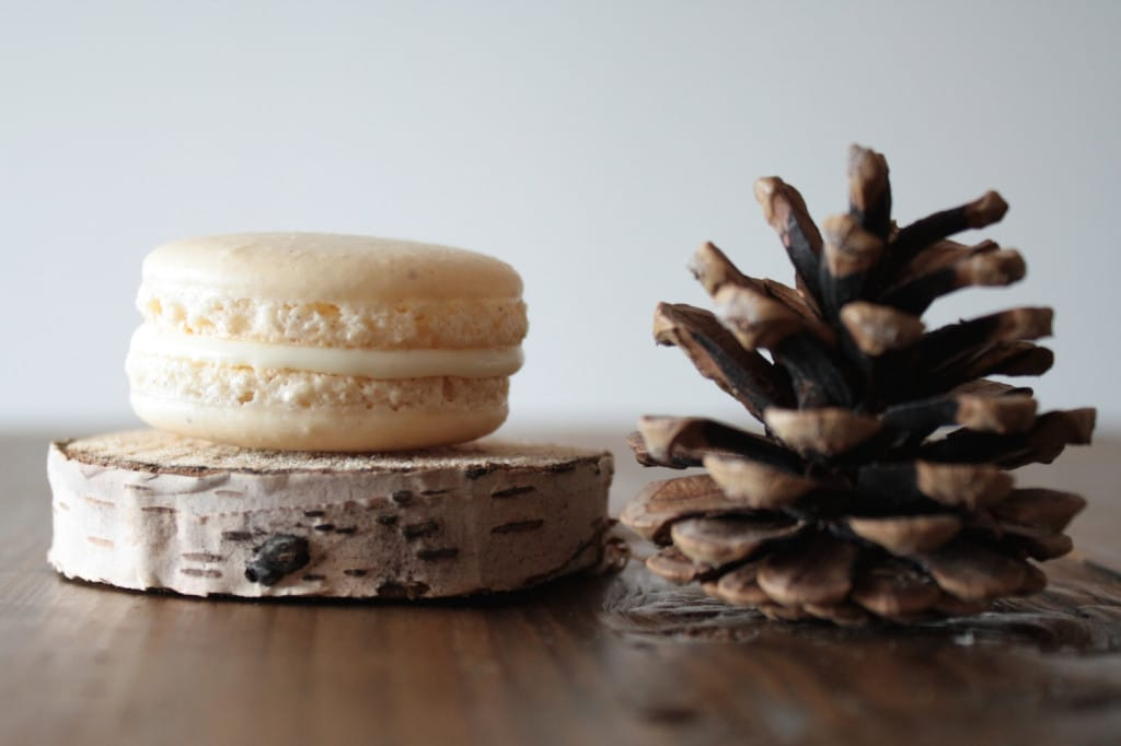 Close up of the macaron with a pine cone beside.