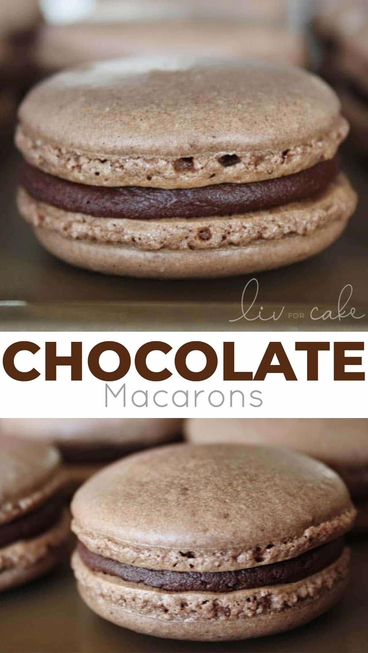 Chocolate macarons collage