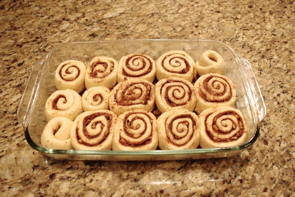 Cinnamon rolls risen overnight