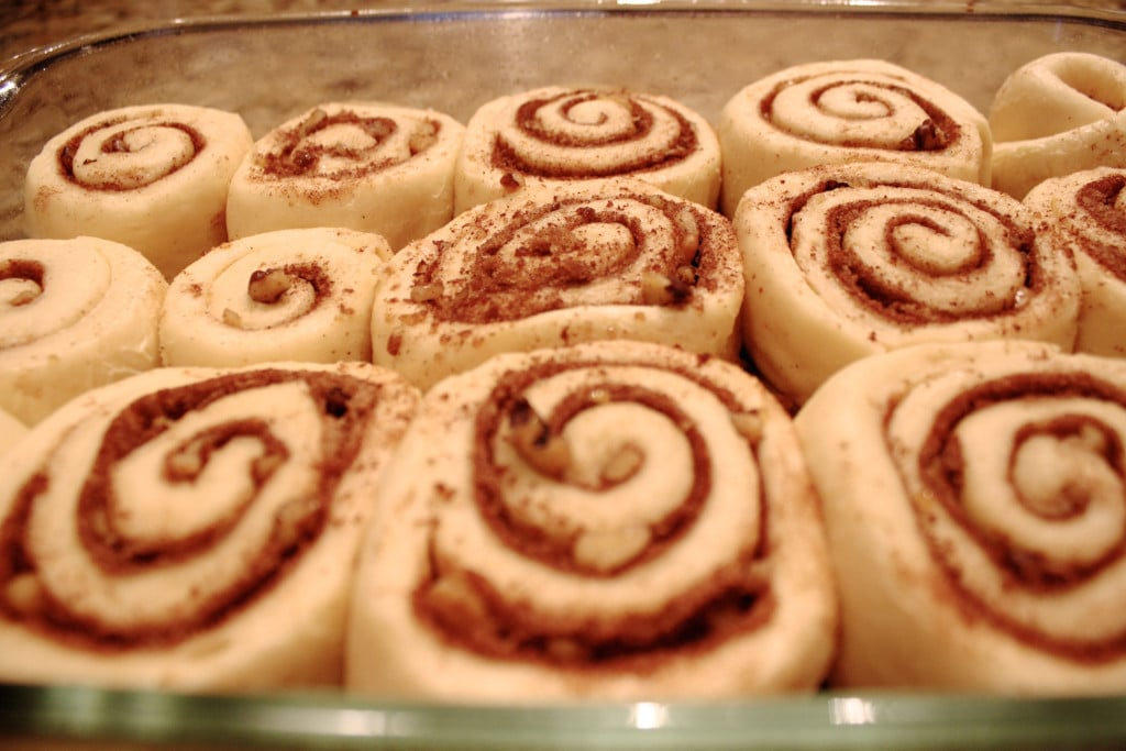 Close up of risen cinnamon rolls