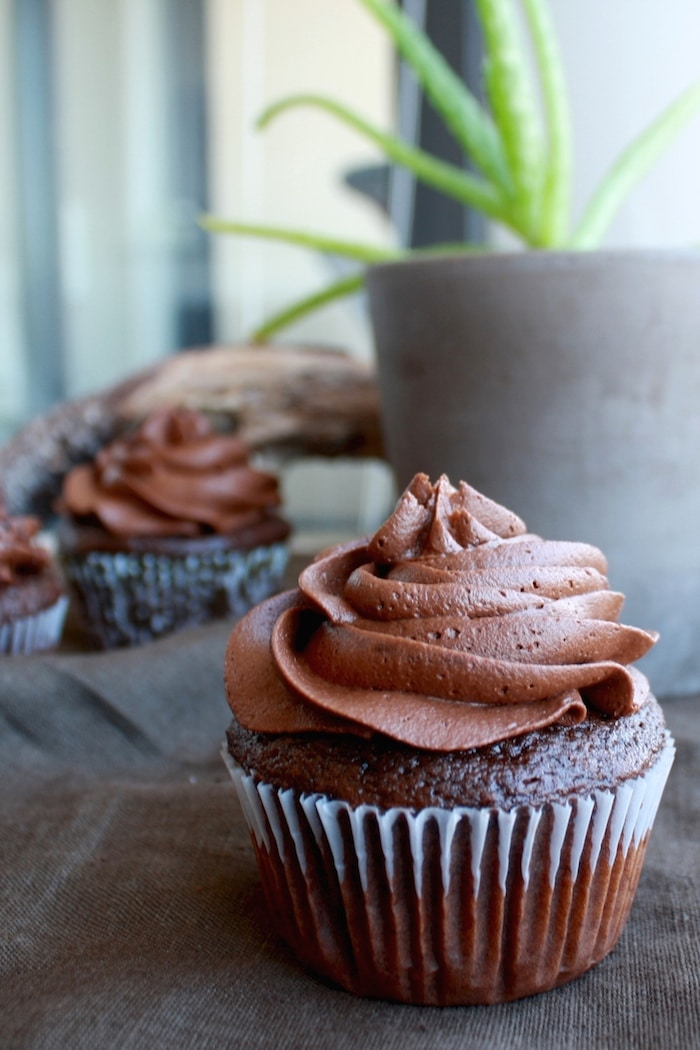 A close up of a cupcake on a table