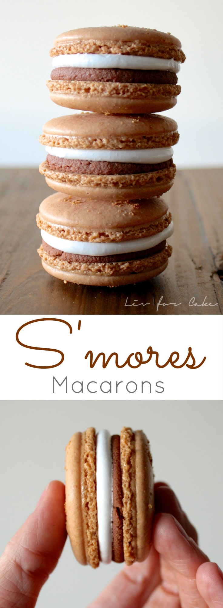 These s'mores macarons will satisfy your craving when there isn't a campfire nearby! Perfect blend of graham cracker cookies filled with marshmallow and chocolate. | livforcake.com
