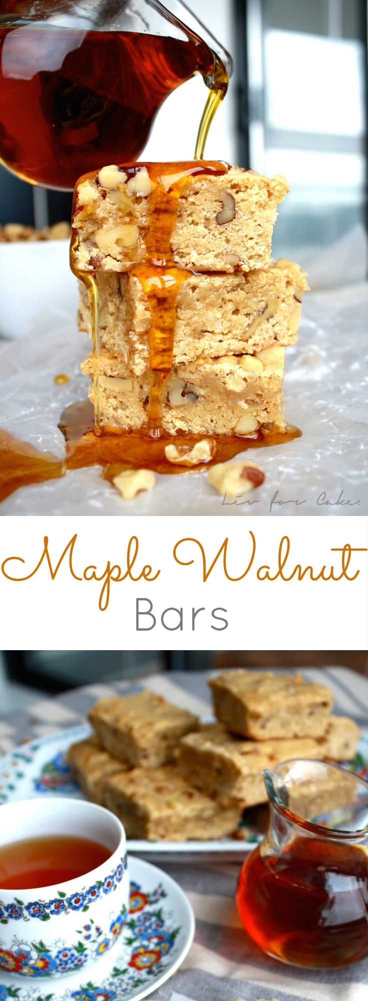 Maple syrup and walnuts kick these blondies up a few notches. | livforcake.com