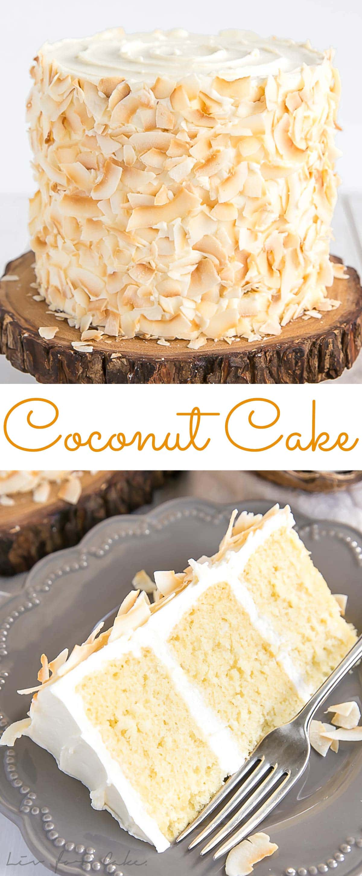 Coconut cake recipe made with coconut milk, coconut milk powder, and toasted coconut flakes.