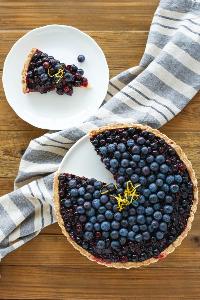 Overhead shot of the tart with a slice cut out
