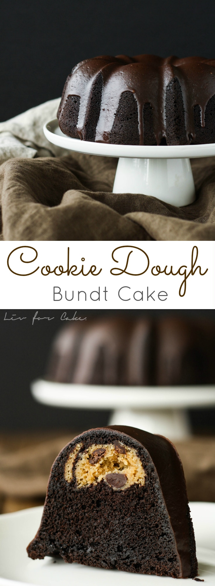 This Cookie Dough Bundt Cake is a black cocoa chocolate cake and has a chocolate chip cookie dough surprise inside. | livforcake.com