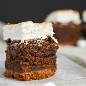 Close up of a s'mores brownie.