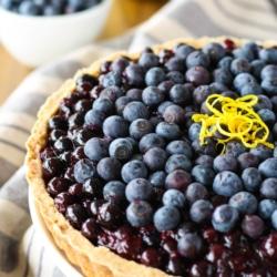 Close up angled shot of the blueberry tart.