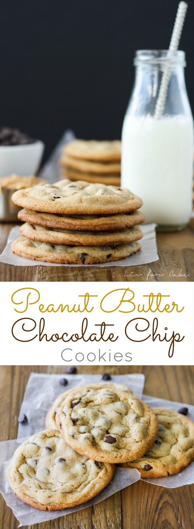 Peanut Butter Chocolate Chip Cookies! These chewy cookies are sweet, salty, and delicious. | livforcake.com