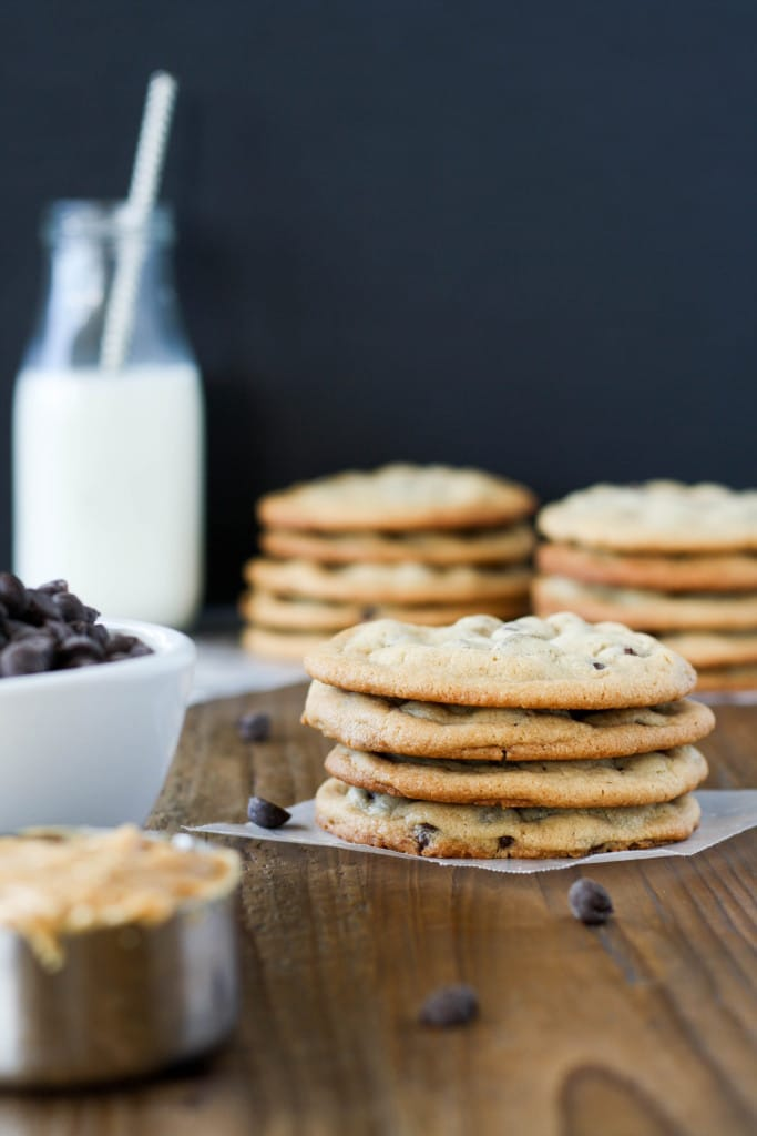 A stack of chewy peanut butter chocolate chip cookies