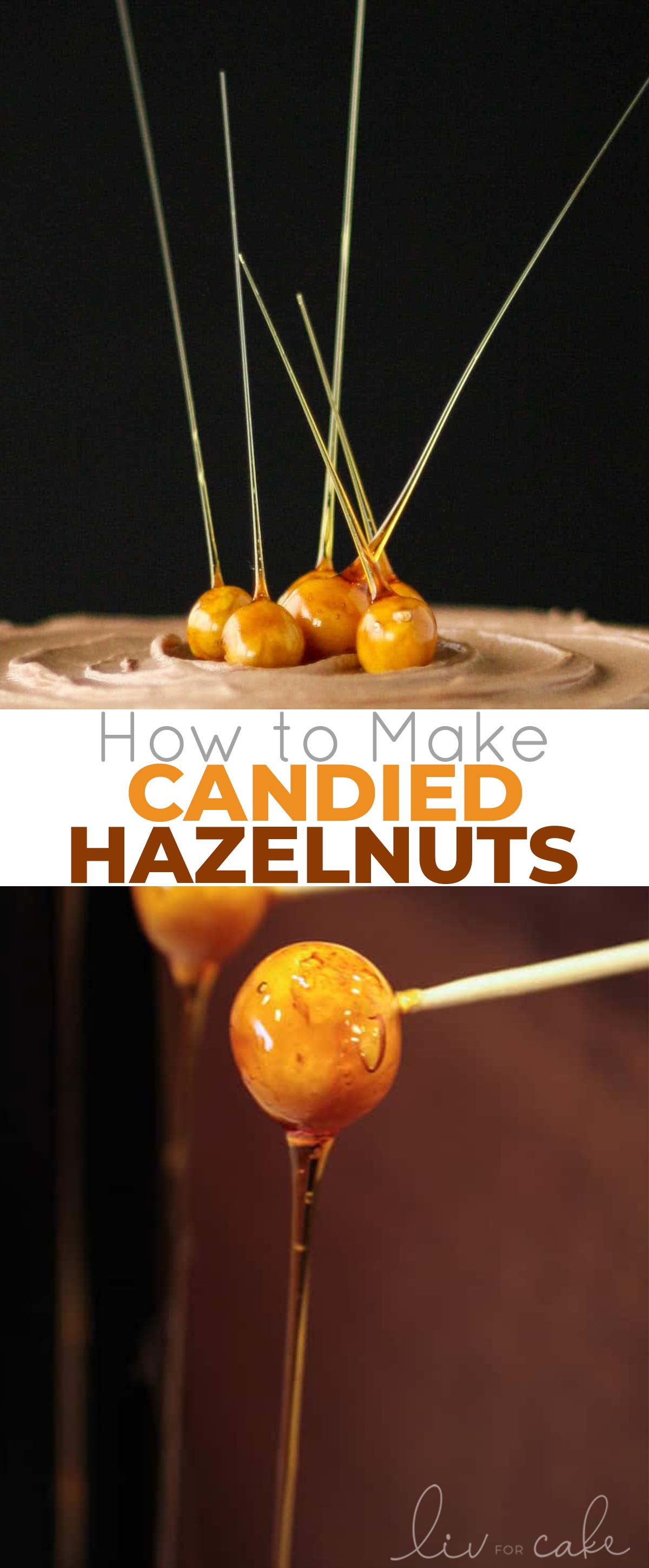 Candied hazelnuts collage.