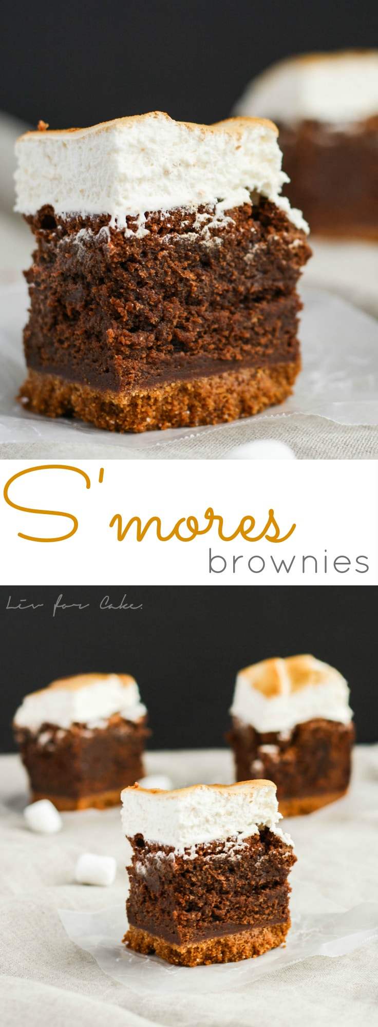 A rich chocolate brownie, graham cracker crust, and gooey toasted marshmallow... these s'mores brownies are even better than the real thing.