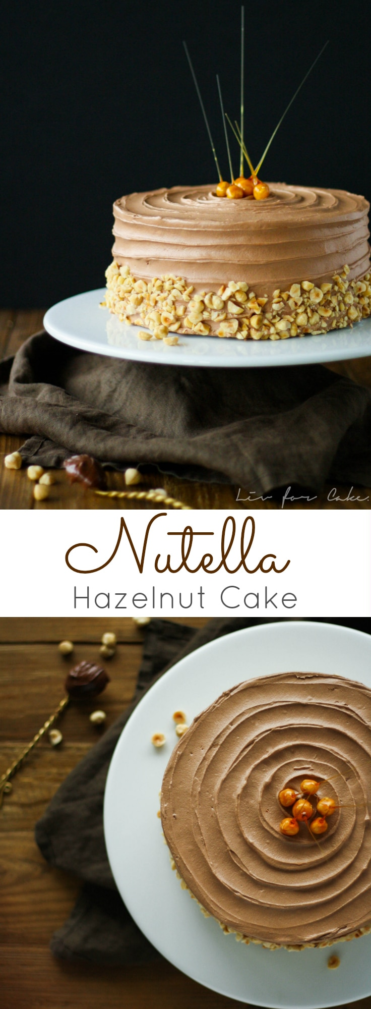 This delicious Nutella Hazelnut Cake is adorned with stunning candied hazelnuts.   livforcake.com