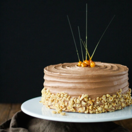 Cake on a white cake stand and black background. Candied hazelnuts on top of the cake and chopped hazelnuts along the bottom.