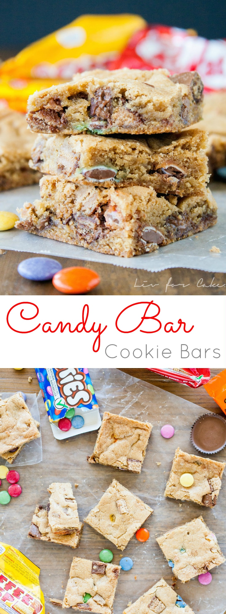 Super easy Candy Bar Cookie Bars that can be made with almost any candy bar of your choice! | livforcake.com