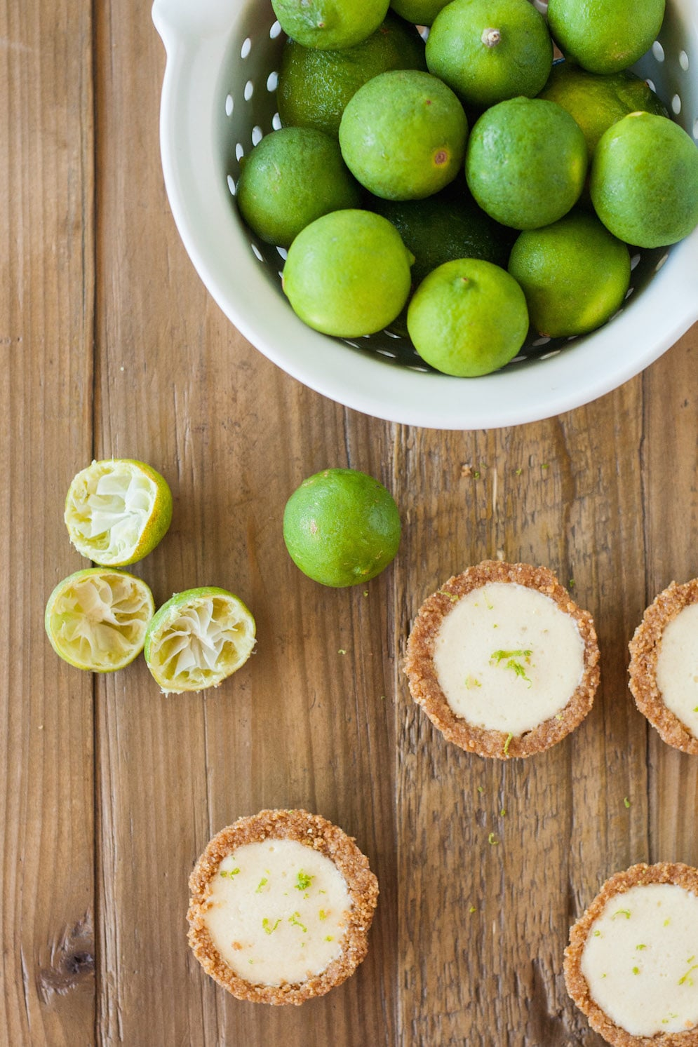 Overhead shot of the tarts and limes