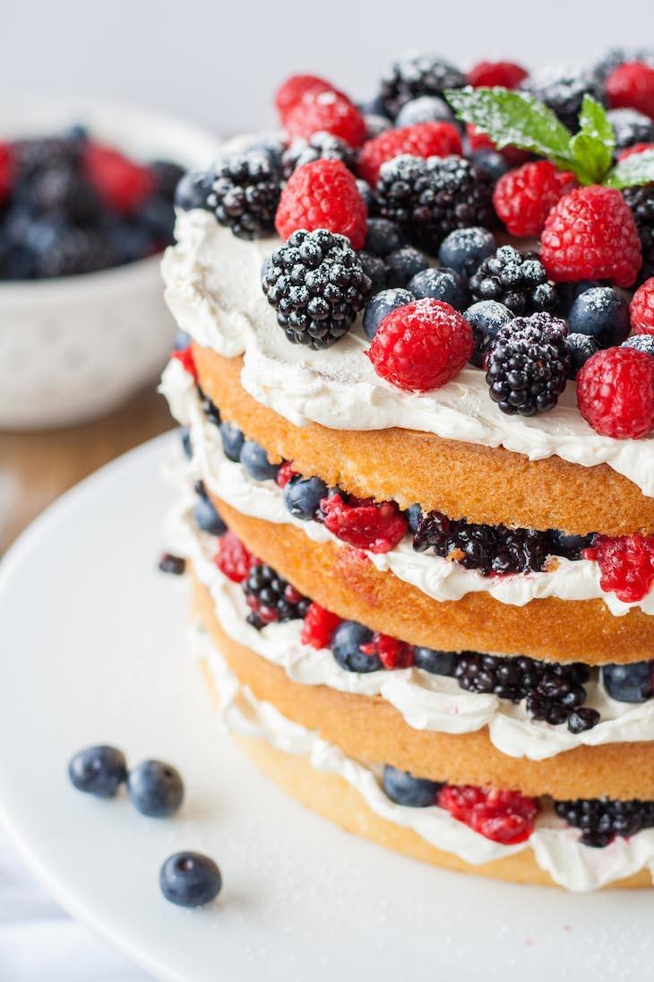 Strawberry And Cream Angel Food Cake