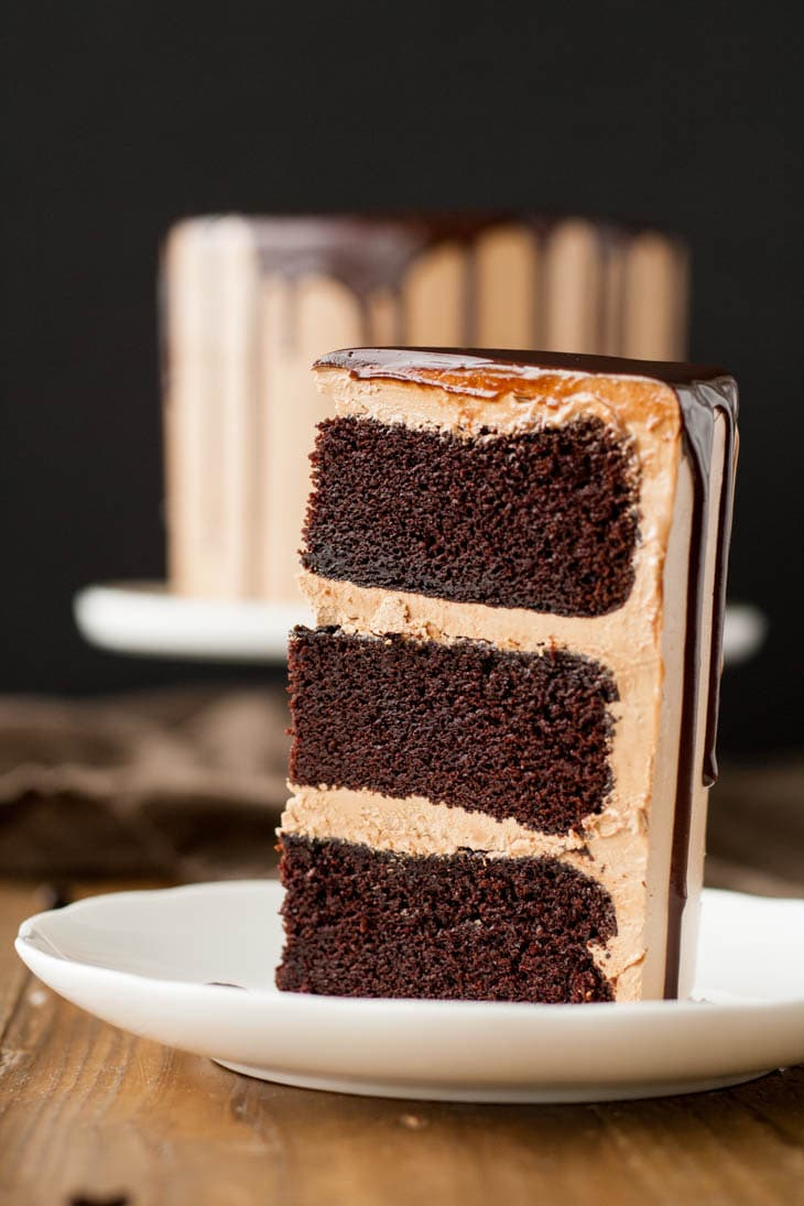 Close up of a slice of Mocha cake with Mocha buttercream