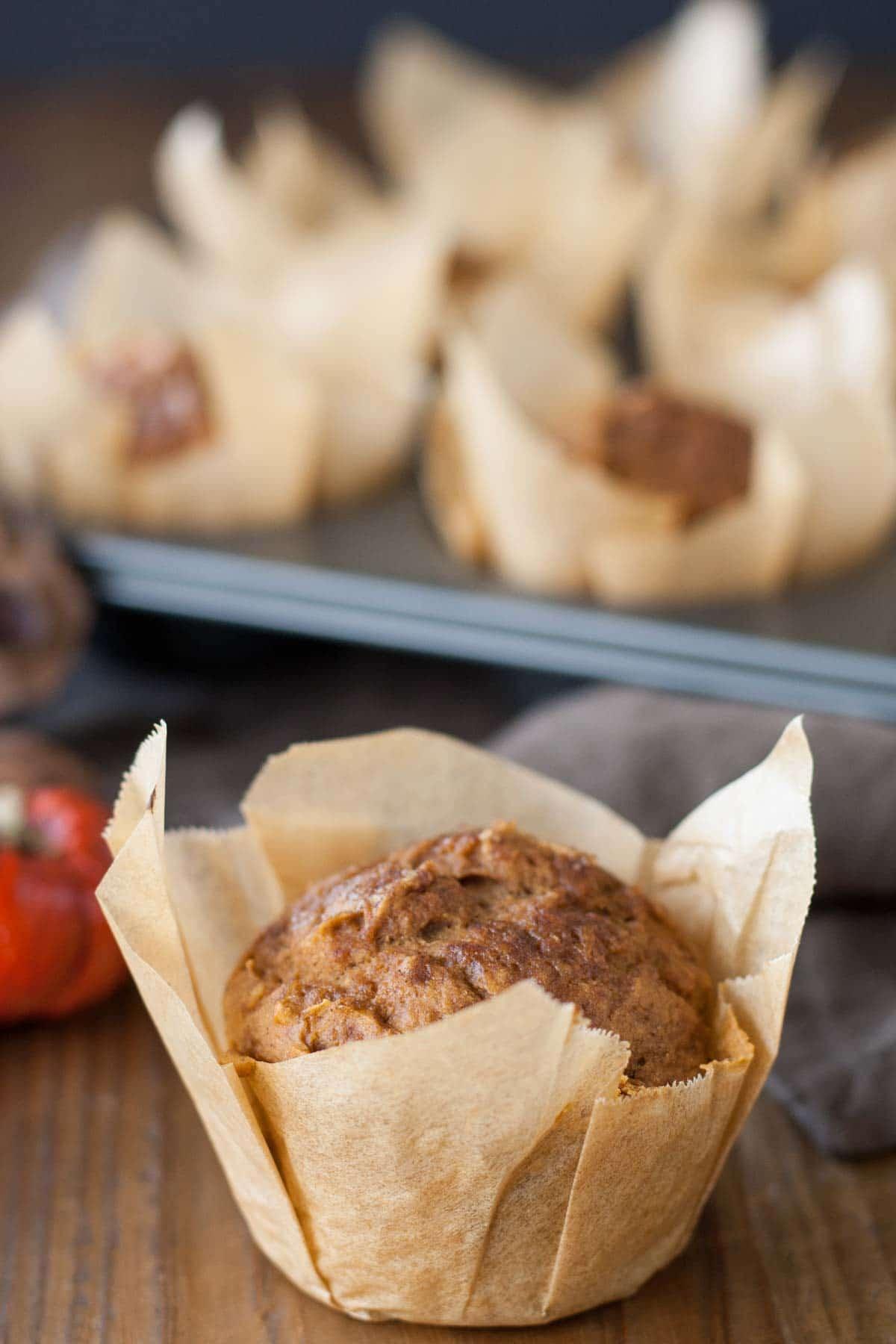 TWO Ingredient Pumpkin Muffins! Start to finish in under 25mins! | livforcake.com