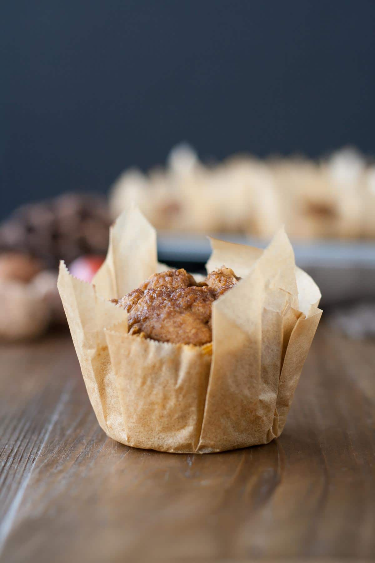 Close up of a pumpkin muffin.