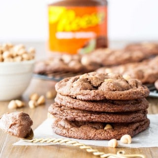 Ultra chewy peanut butter chip cookies made with Reese's Peanut Butter Chocolate Spread. | livforcake.com