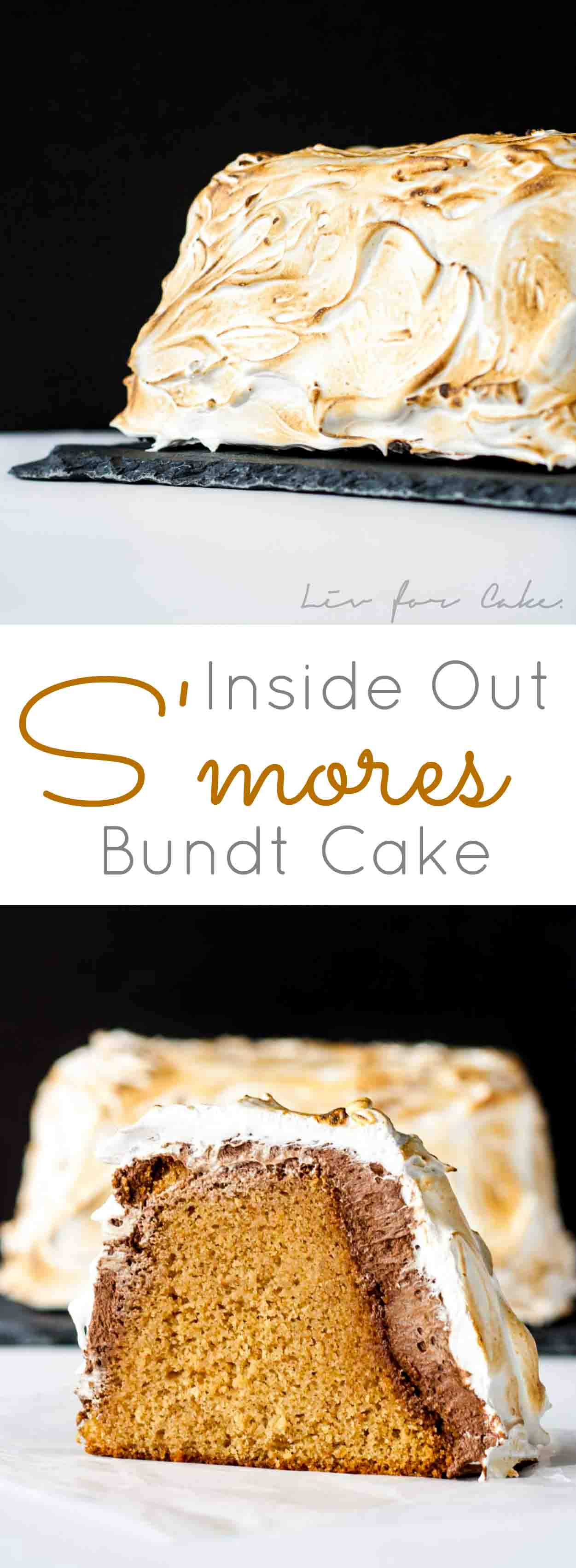 S'mores Bundt Cake - A delicious graham cracker Bundt cake covered in a whipped milk chocolate ganache and toasted marshmallow fluff. | livforcake.com