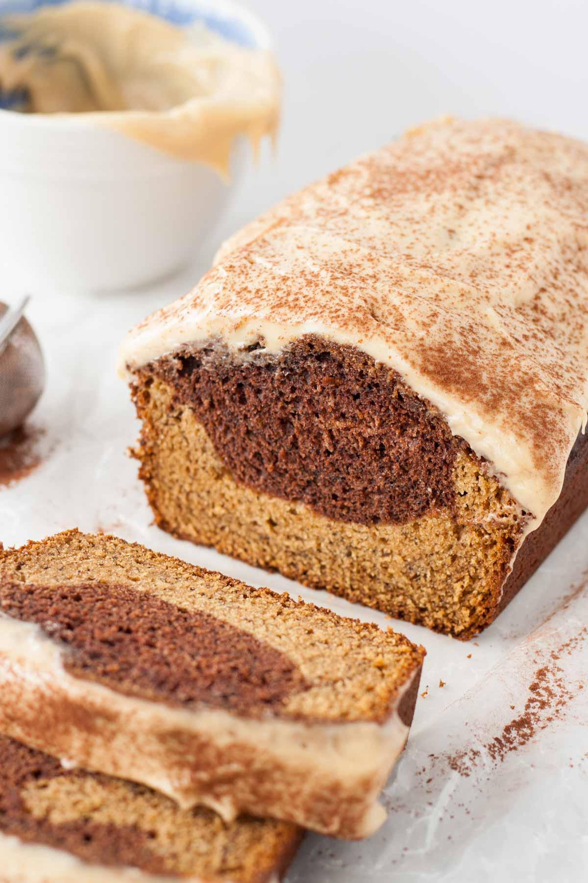 Angled shot of the slices loaf.