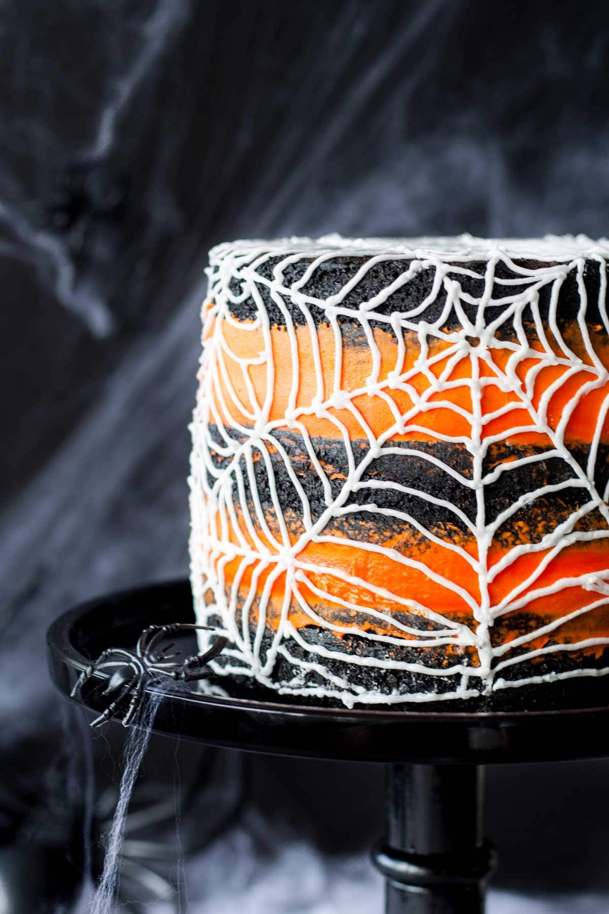 Close up of the spiderweb on the side of the cake.