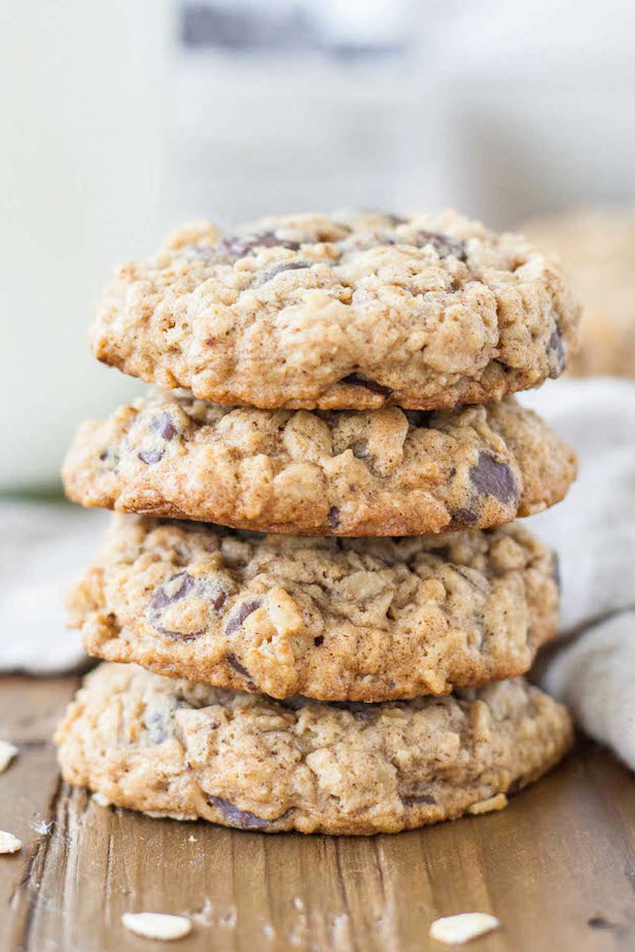 Soft and chewy oatmeal chocolate chip cookies.   livforcake.com