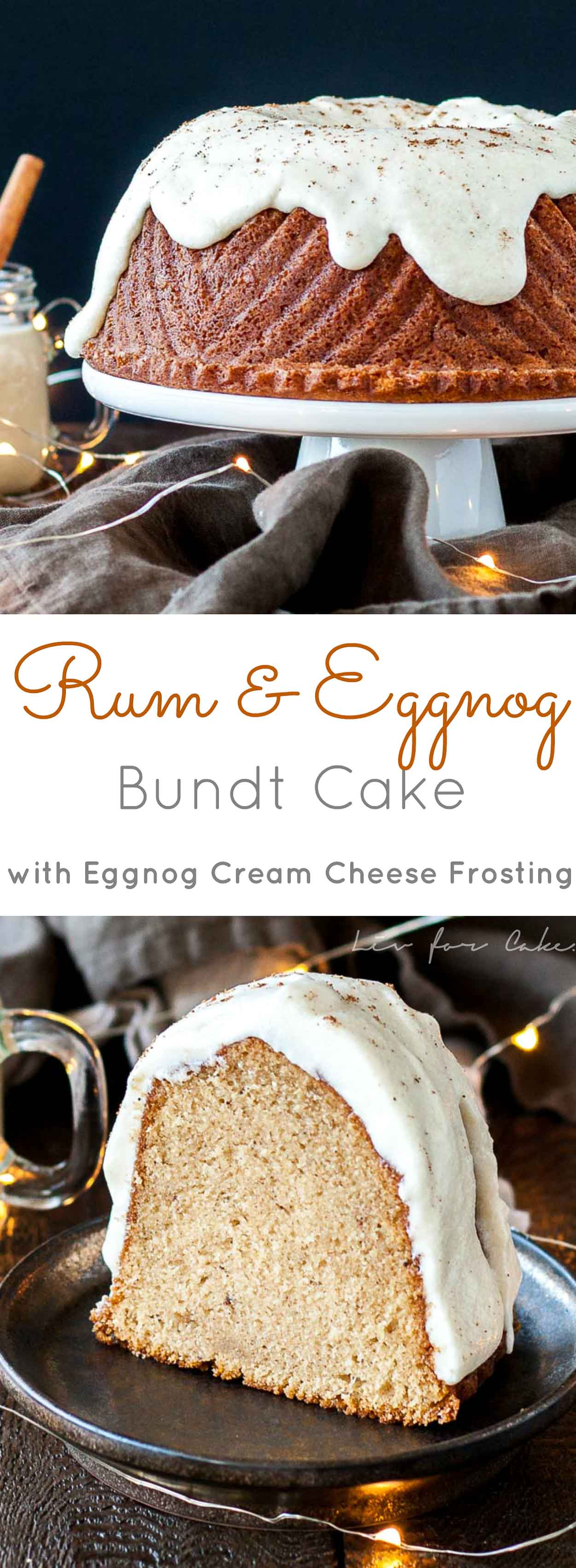 Your favourite holiday beverages in one delicious cake! The perfect mix of nice and naughty in this festive Rum & Eggnog Bundt. | livforcake.com
