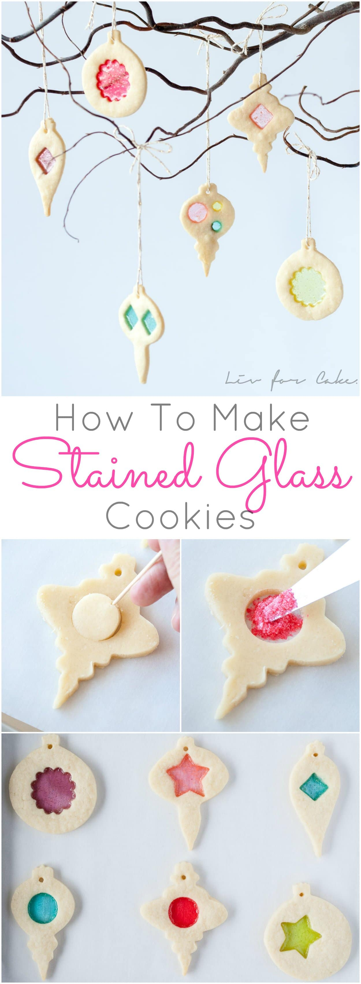 Cookie and candy all in one! Learn how to make stunning stained glass cookies with this detailed tutorial. Perfect for holiday cookie exchanges or hanging on your tree! | livforcake.com