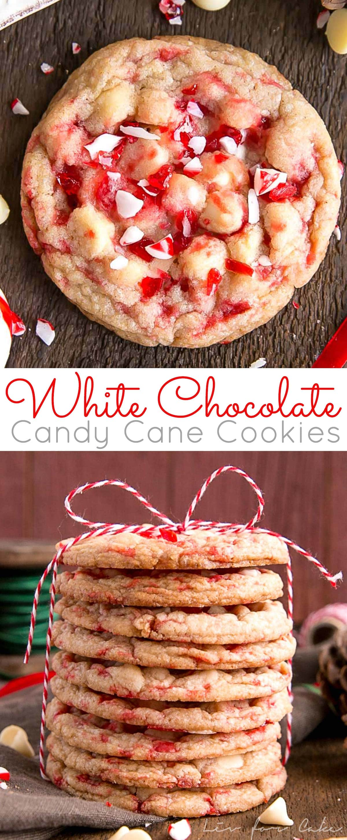These White Chocolate Candy Cane Cookies are crispy, chewy, and delicious. The perfect sweet treat for the holidays! | livforcake.com