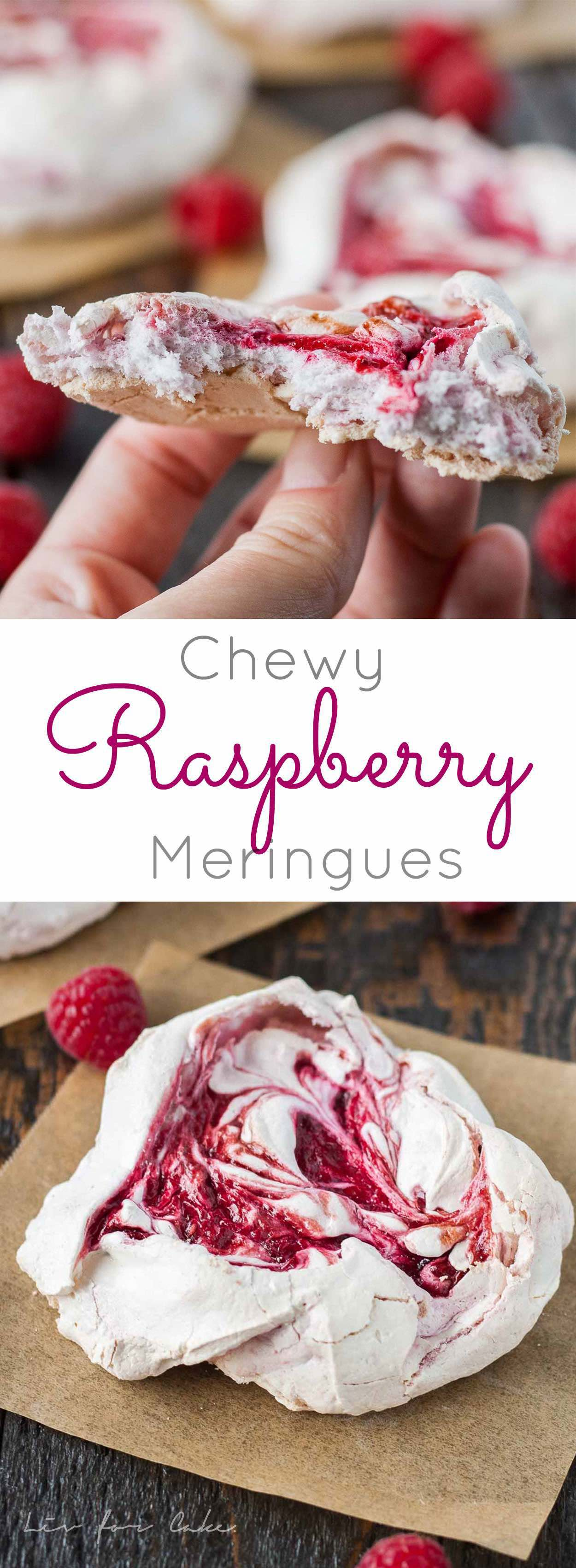 Chewy Raspberry Meringues! Light and crunchy on the outside, soft and chewy on the inside. | livforcake.com
