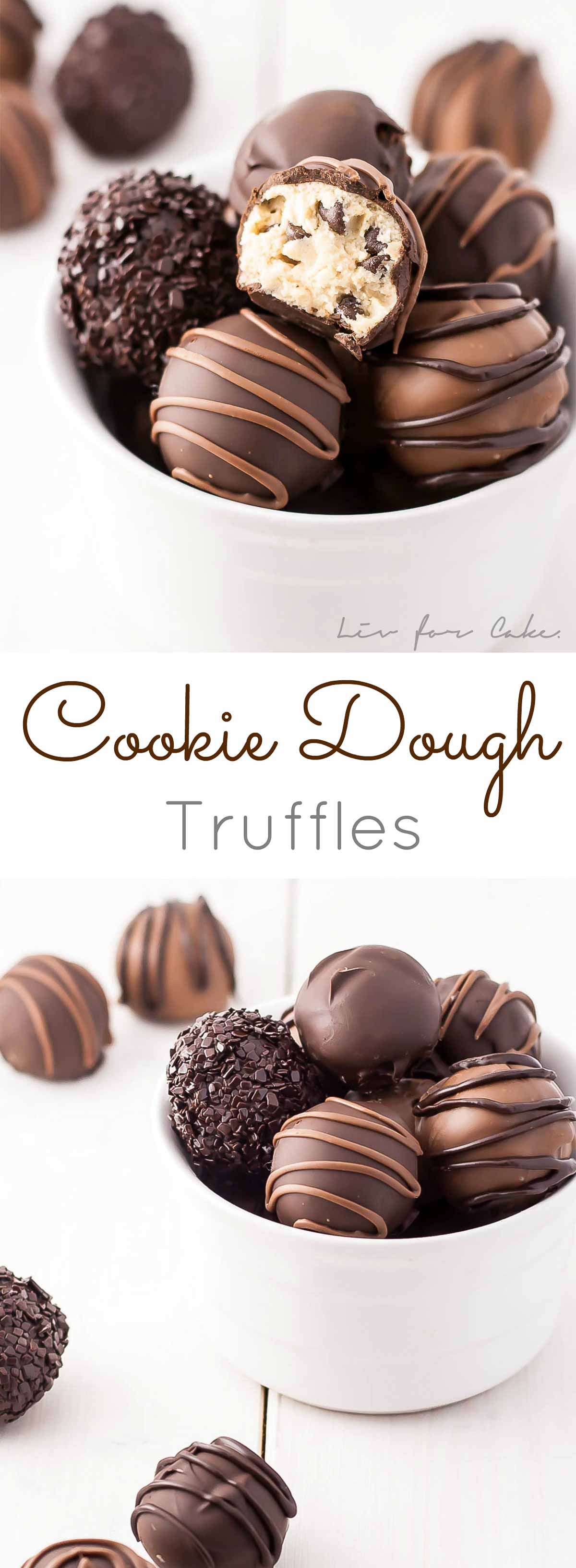 These egg-free edible Cookie Dough Truffles are the perfect bite-sized treat! Dip them in chocolate or eat them plain. | livforcake.com