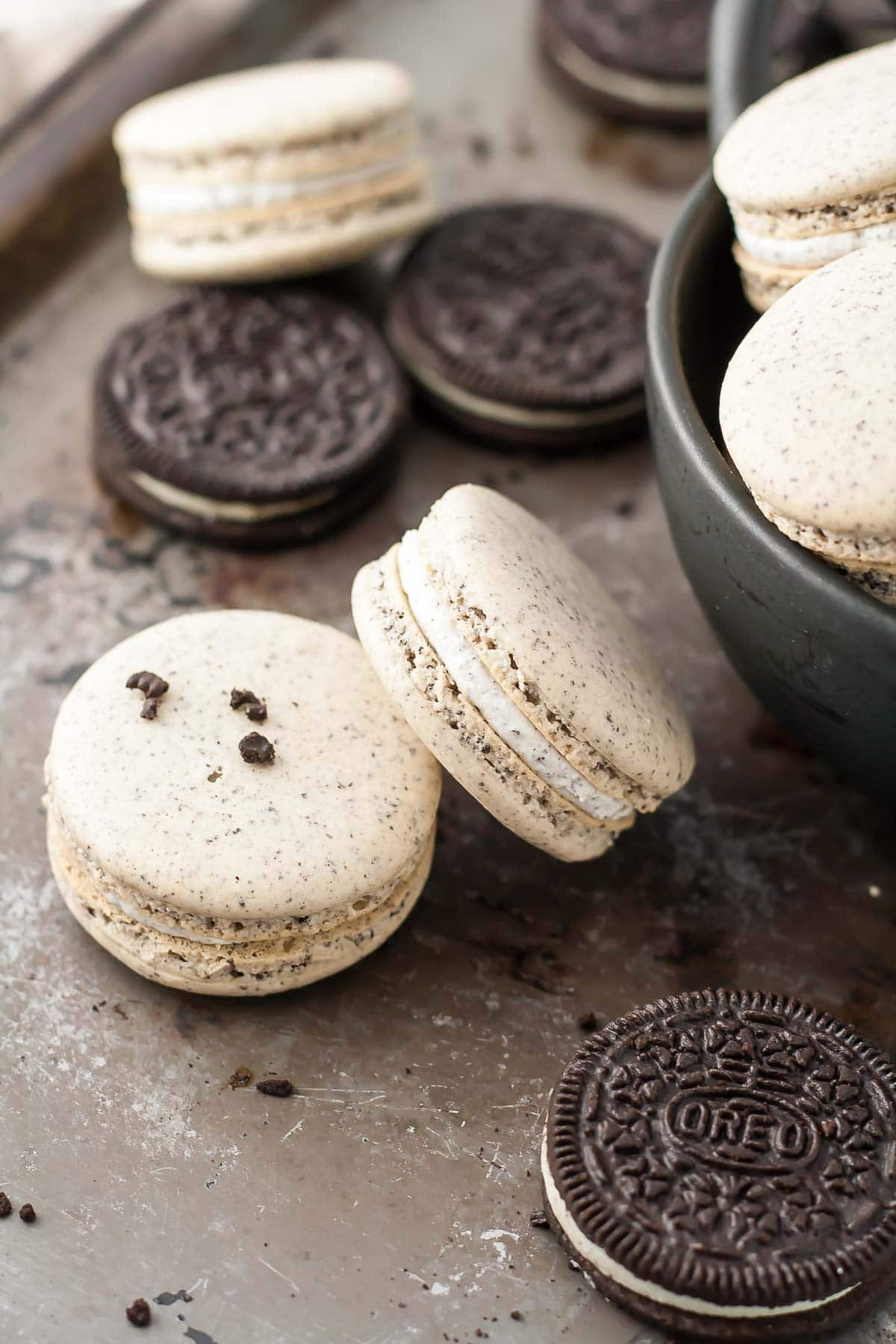 Oreo macarons with Oreo filling.