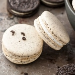 A close up of oreo macarons