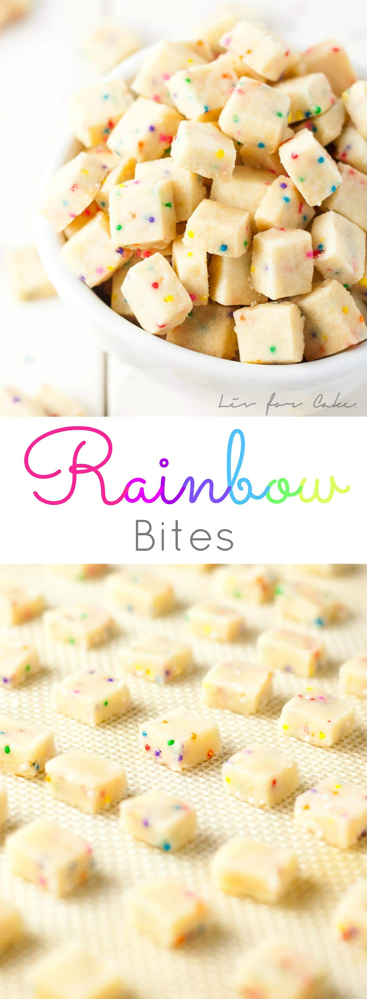Tiny shortbread cookies studded with rainbow sprinkles. Kids will love these Rainbow Bites! Change the color of the sprinkles for any holiday or event. | livforcake.com